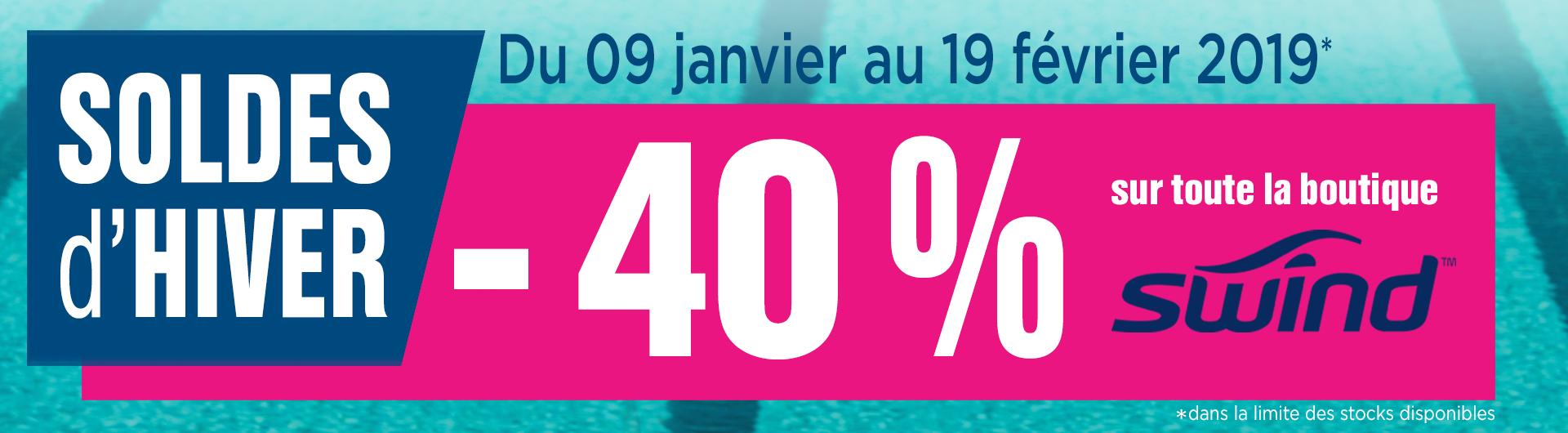 - 40% sur toute la boutique